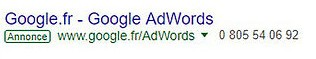 Google adwords exemple